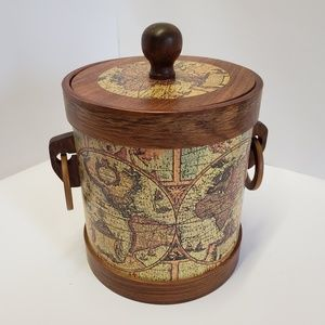 MID Century world map rosewood ice bucket w/ tongs